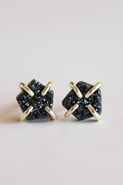 JaxKelly Black Druzy Prong Earrings - Front cropped