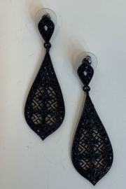 L & B CREATIONS BLACK EARRINGS - Front cropped
