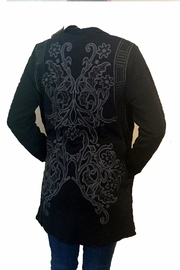 Paparazzi Black Embrodiery Jacket - Front full body