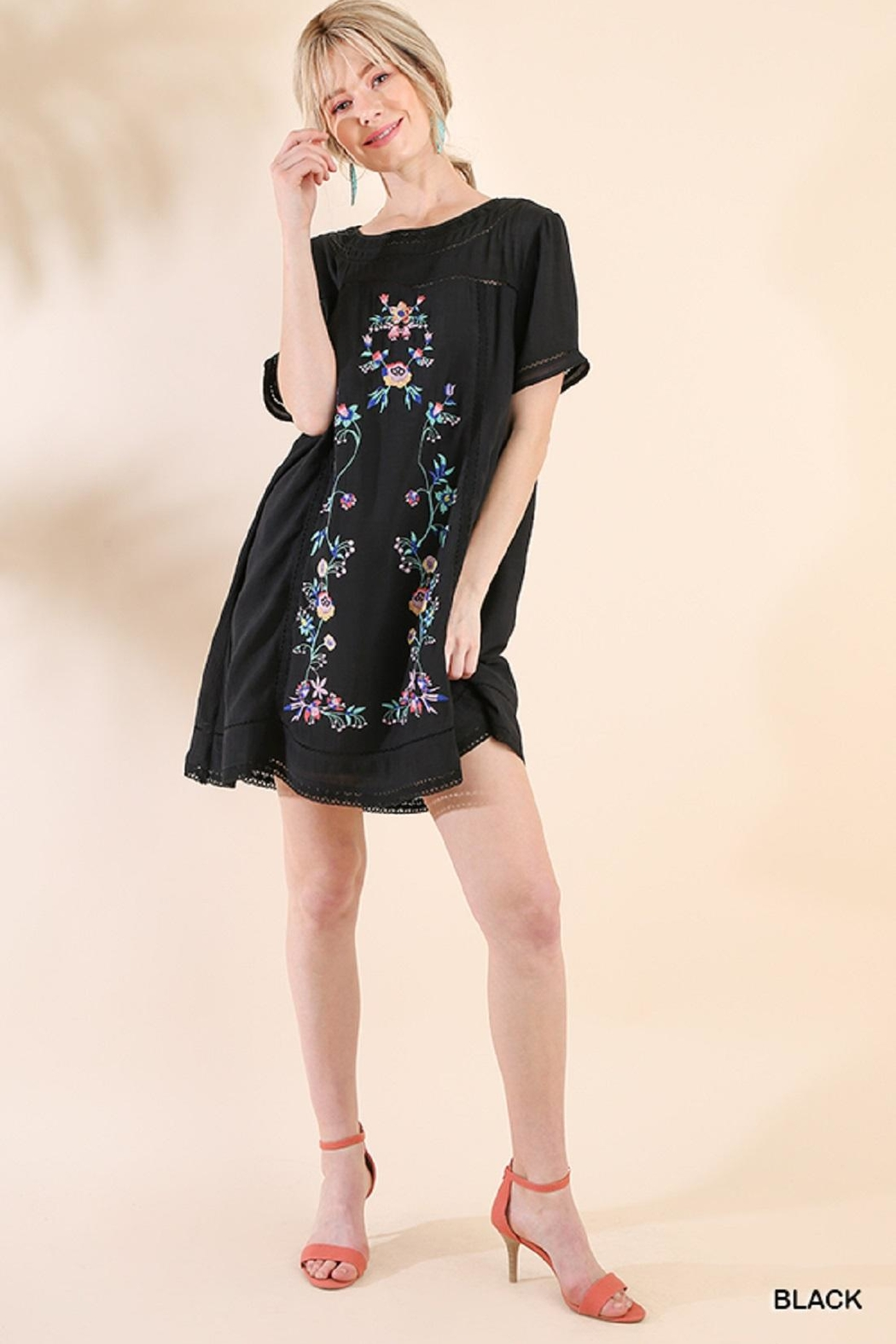 Umgee USA Black Embroidered Dress - Front Cropped Image