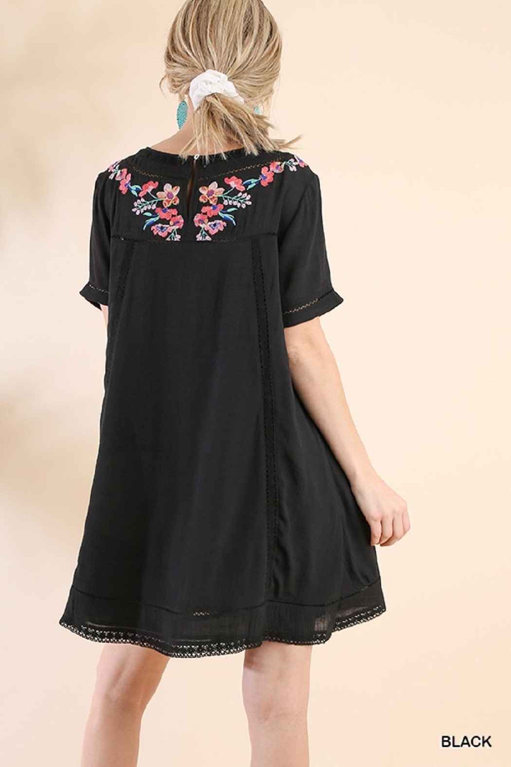 Umgee USA Black Embroidered Dress - Side Cropped Image