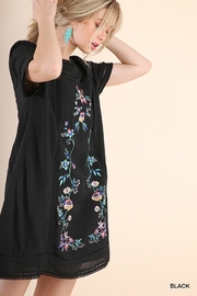 Umgee USA Black Embroidered Dress - Front full body