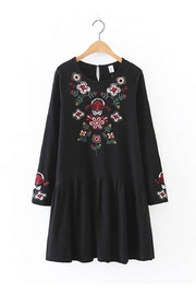 Fashion Pickle Black Embroidered Dress - Product Mini Image