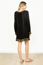 Monoreno Black Embroidered Dress - Front full body