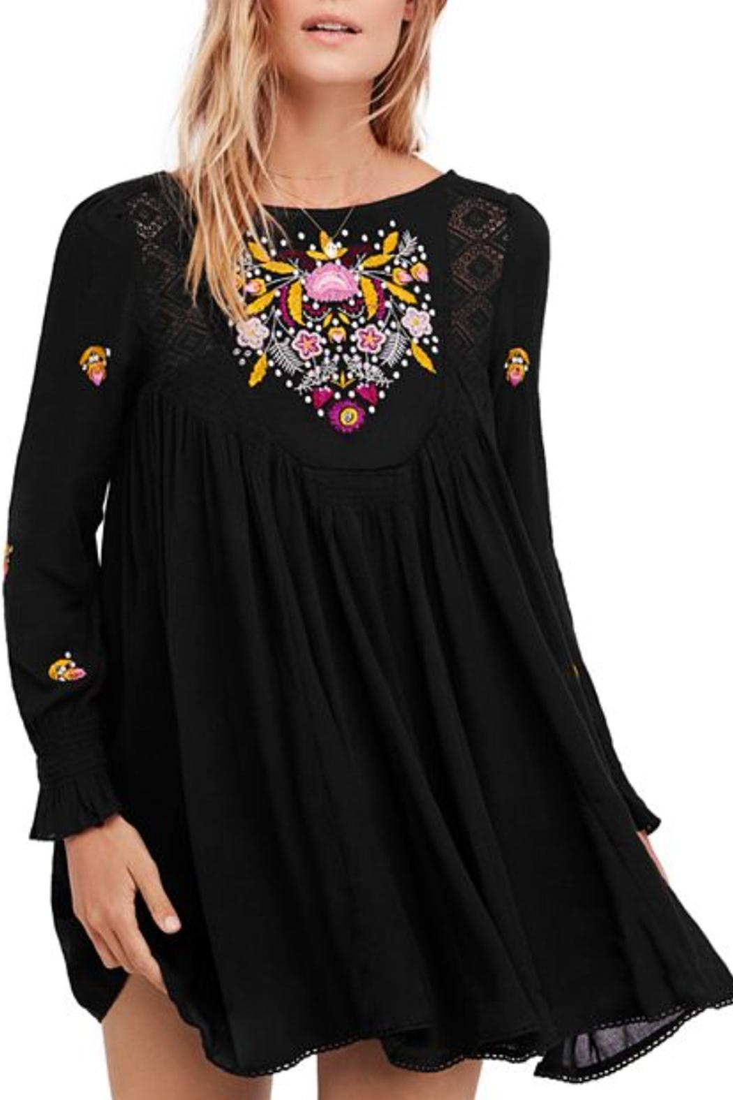 Free People Black Embroidered Dress - Main Image