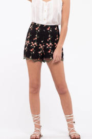 Just One Answer Black Embroidered Floral Shorts - Product Mini Image