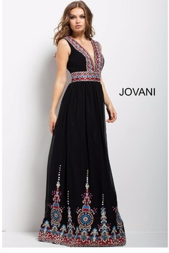 Jovani PROM Black Embroidered Gown - Product List Image