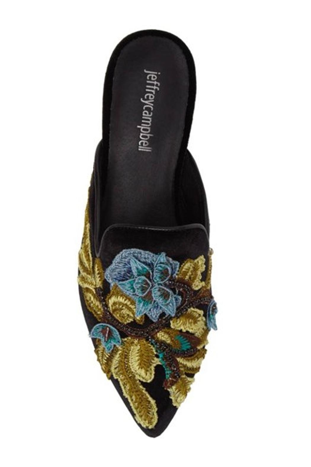 Jeffrey Campbell Black Embroidered Mule - Back Cropped Image