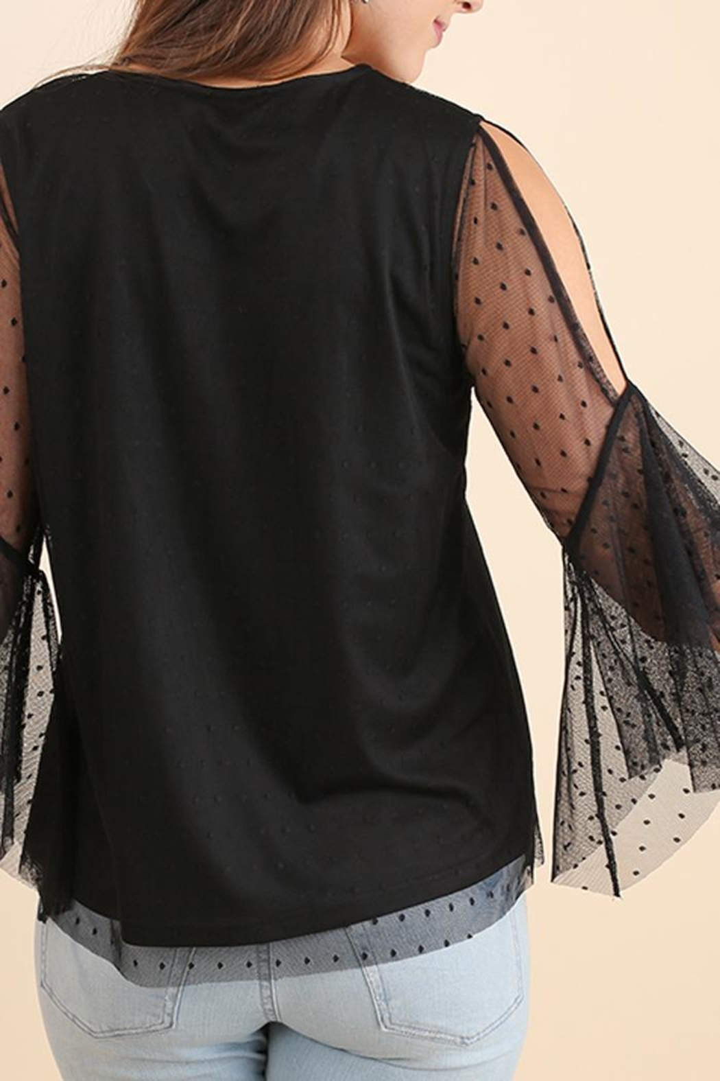 Umgee USA Black Embroidered Top - Front Full Image