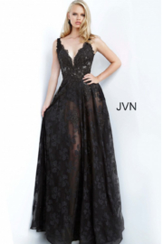 Jovani Black Embroidererd Gown - Product Mini Image
