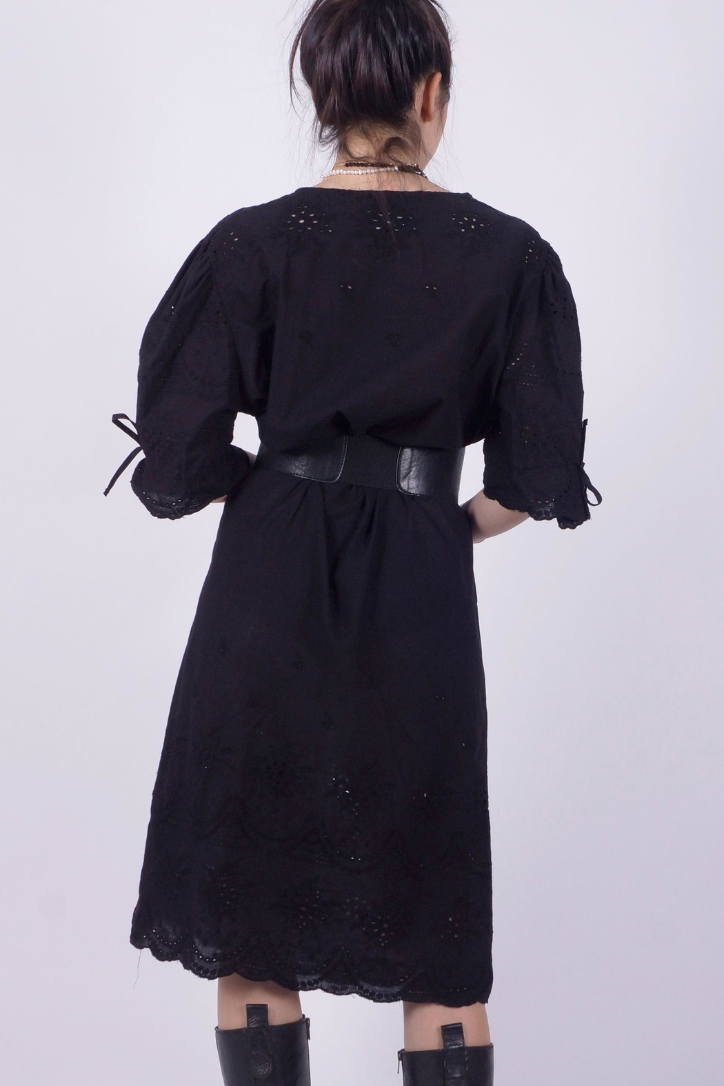 NU New York Black Eyelet Dress - Front Full Image