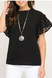 She + Sky Black Eyelet-Sleeve Top - Front cropped