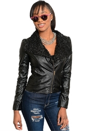 WFS Black Faux Leather Jacket With Faux Fur Lining - Product Mini Image