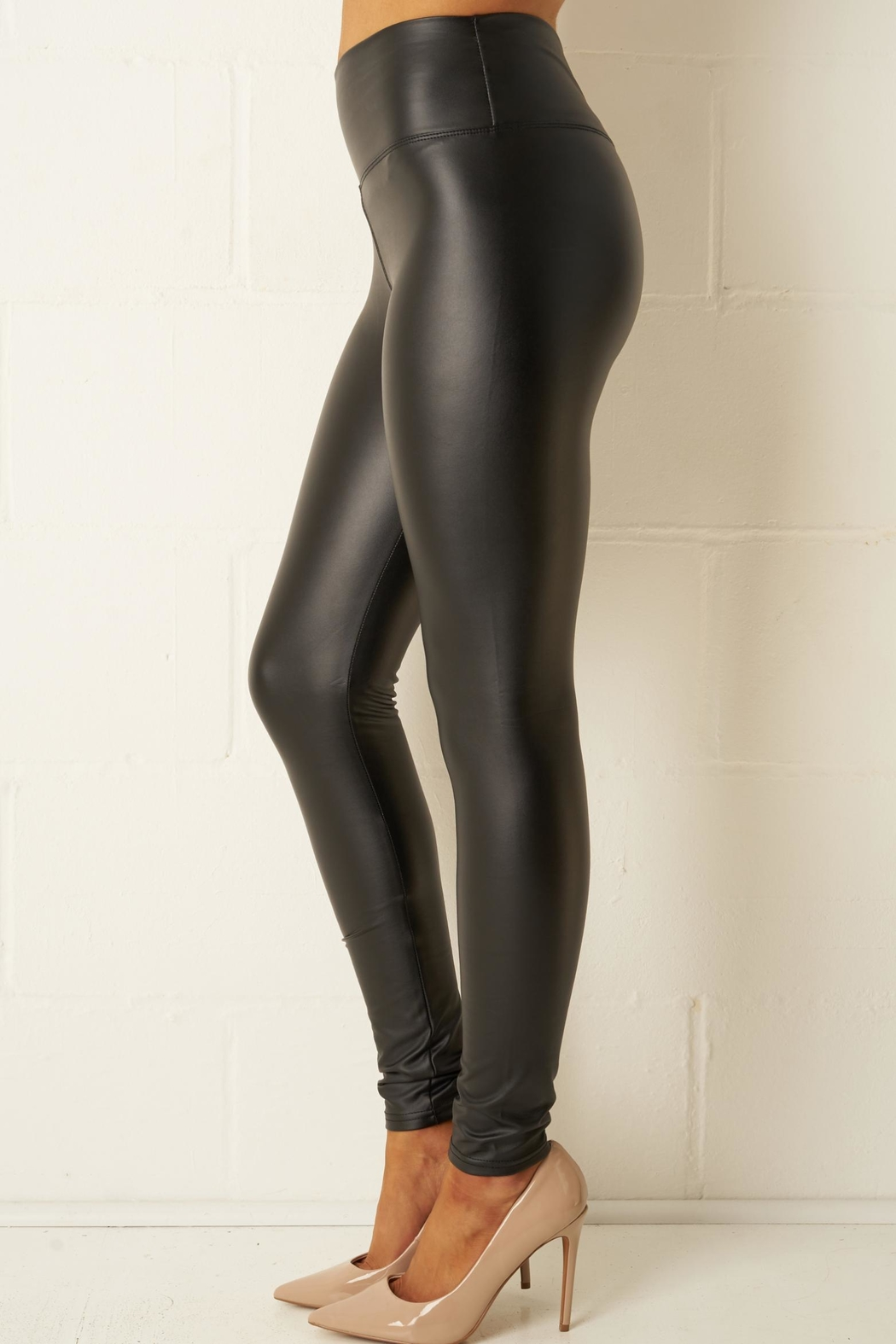 frontrow Black Faux-Leather Leggings - Front Full Image