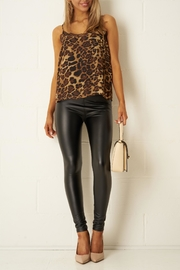 frontrow Black Faux-Leather Leggings - Back cropped