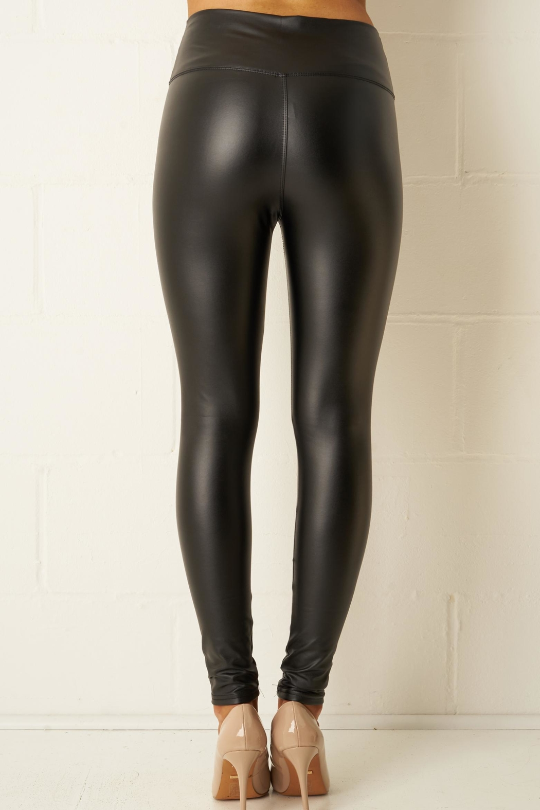 frontrow Black Faux-Leather Leggings - Side Cropped Image