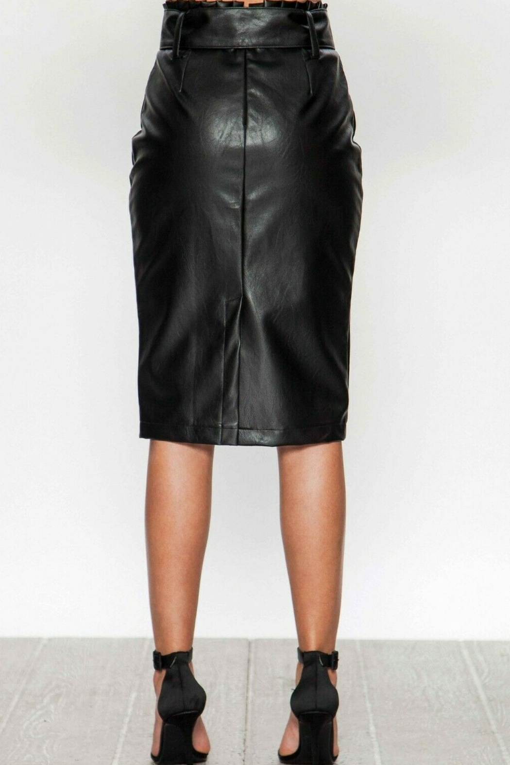 Flying Tomato Black Faux Leather Pencil Skirt - Front Full Image