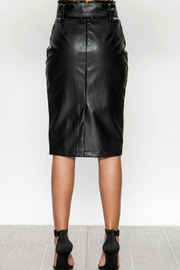 Flying Tomato Black Faux Leather Pencil Skirt - Front full body