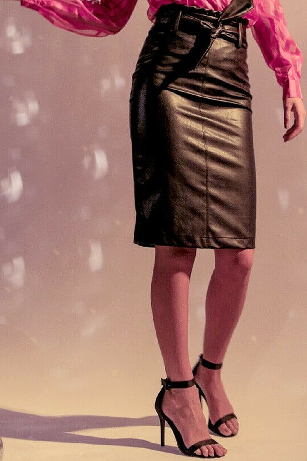 Flying Tomato Black Faux Leather Pencil Skirt - Main Image