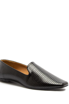 Qupid Black Faux Lizard Ballerina Loafer - Product List Image
