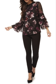 Black Tape/Dex Black Floral 3/4 Tiered Slv Blouse - Product Mini Image