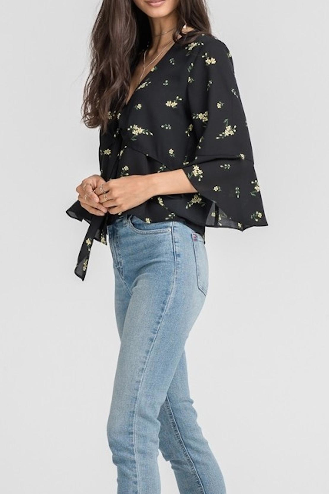 Lush Clothing  Black Floral Blouse - Front Full Image