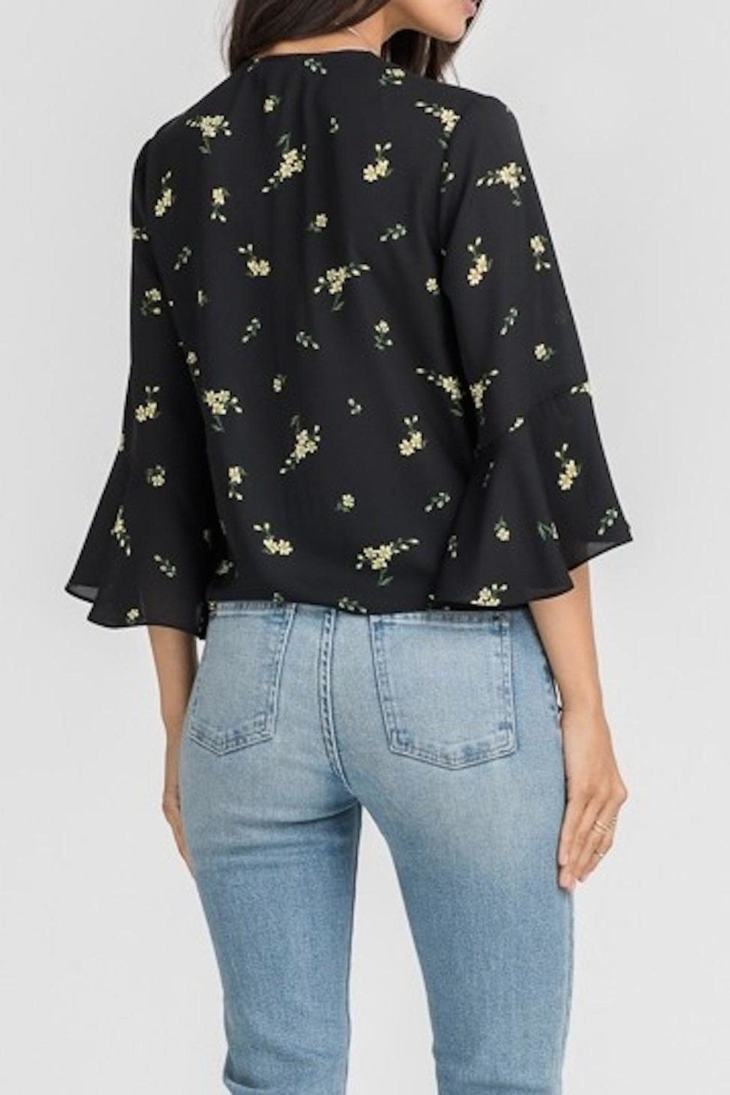 Lush Clothing  Black Floral Blouse - Side Cropped Image