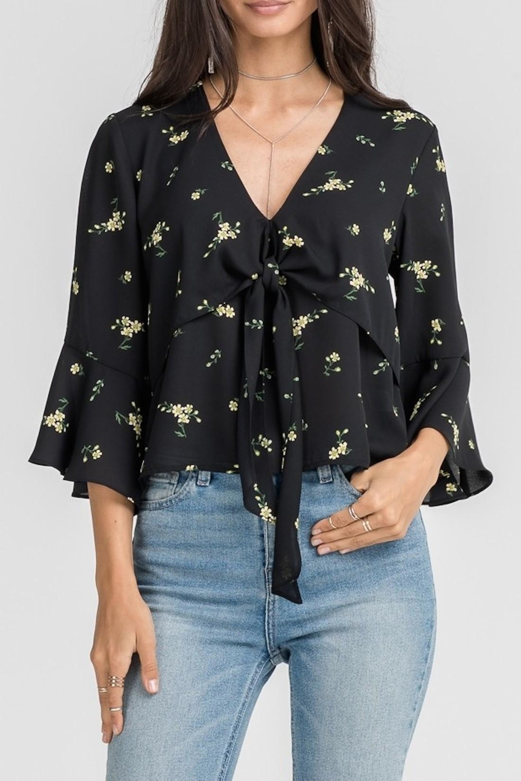 Lush Clothing  Black Floral Blouse - Front Cropped Image