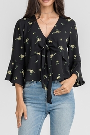 Lush Clothing  Black Floral Blouse - Front cropped