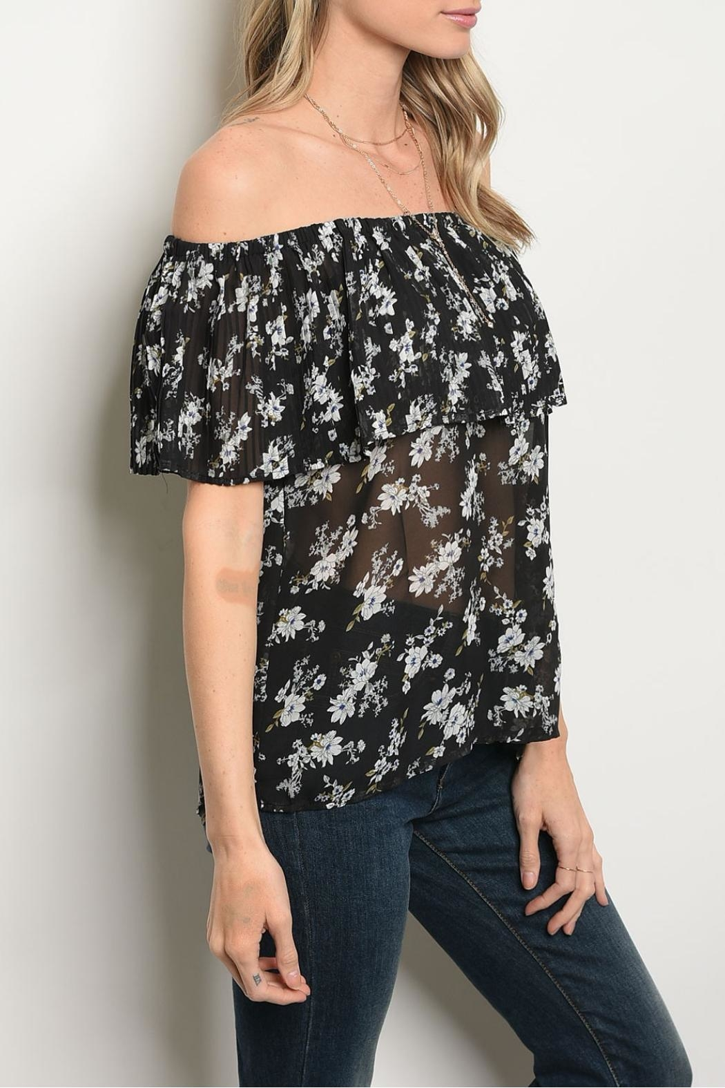Alythea Black Floral Blouse - Side Cropped Image