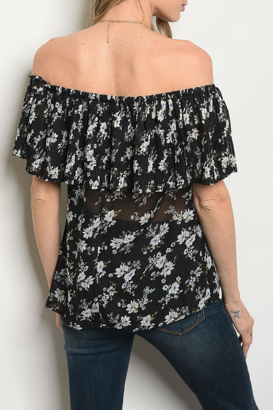 Alythea Black Floral Blouse - Front Full Image