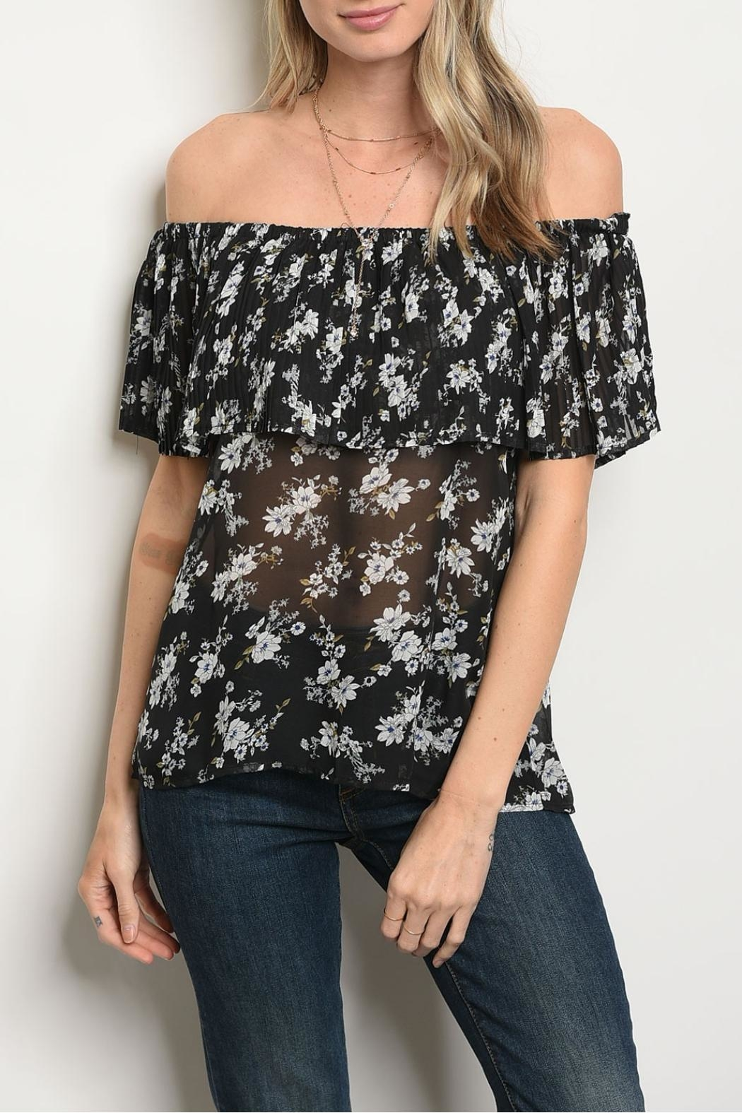 Alythea Black Floral Blouse - Front Cropped Image