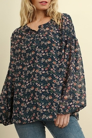 Umgee USA Navy-Floral Button-Print Blouse - Product Mini Image