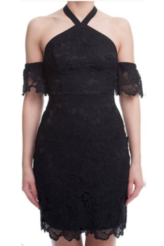 Lush Black Floral Crochet Cup Sleeved Dress - Alternate List Image