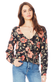 Saltwater Luxe BLACK FLORAL DOT WRAP TOP - Product Mini Image