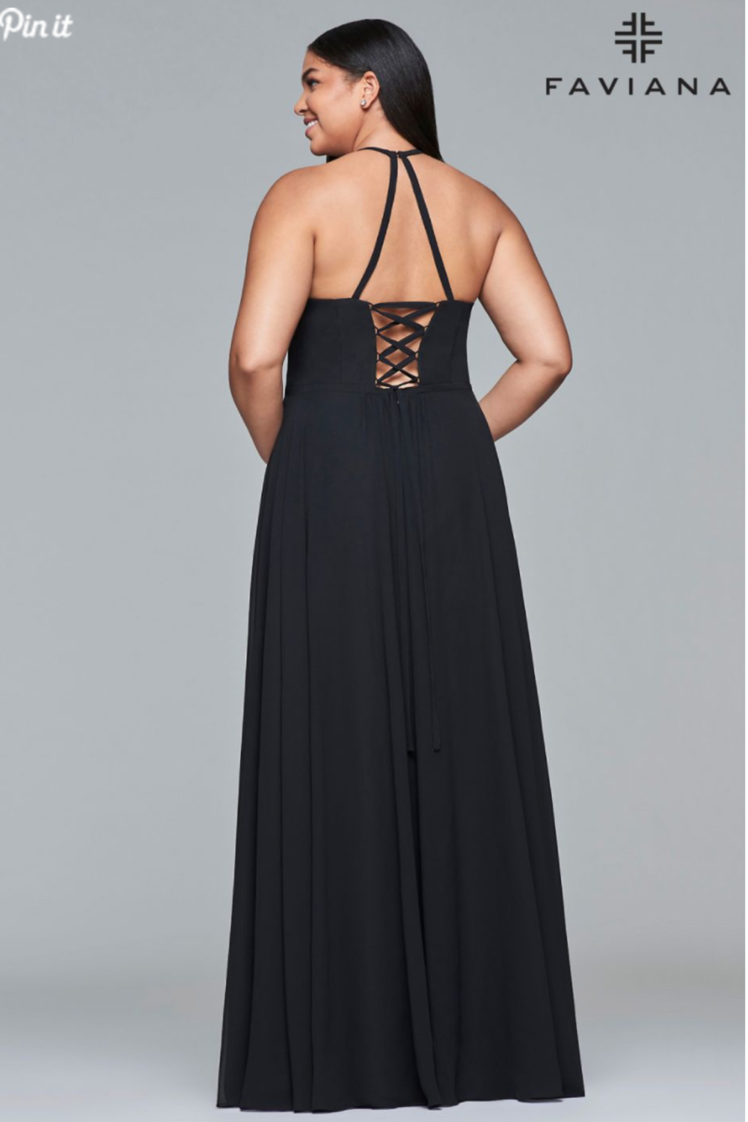 Faviana Black Floral Gown - Front Full Image