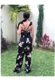 19 Cooper Black Floral Jumpsuit - Front full body