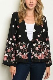 Lyn -Maree's Black Floral Kimono - Front cropped