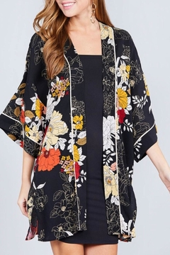Active Basic Black Floral Kimono - Alternate List Image