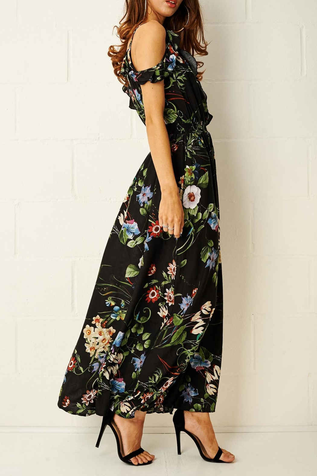 907bae608ec44b frontrow Black-Floral Maxi Dress from Essex by Frontrow — Shoptiques