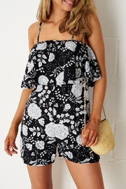 frontrow Black-Floral Overlay Playsuit - Product Mini Image