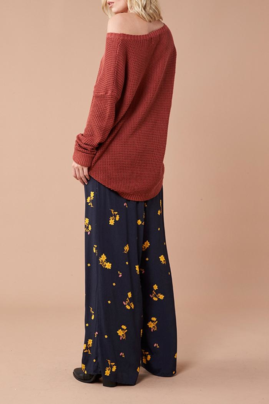MinkPink Black Floral Pants - Back Cropped Image