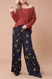 MinkPink Black Floral Pants - Front full body