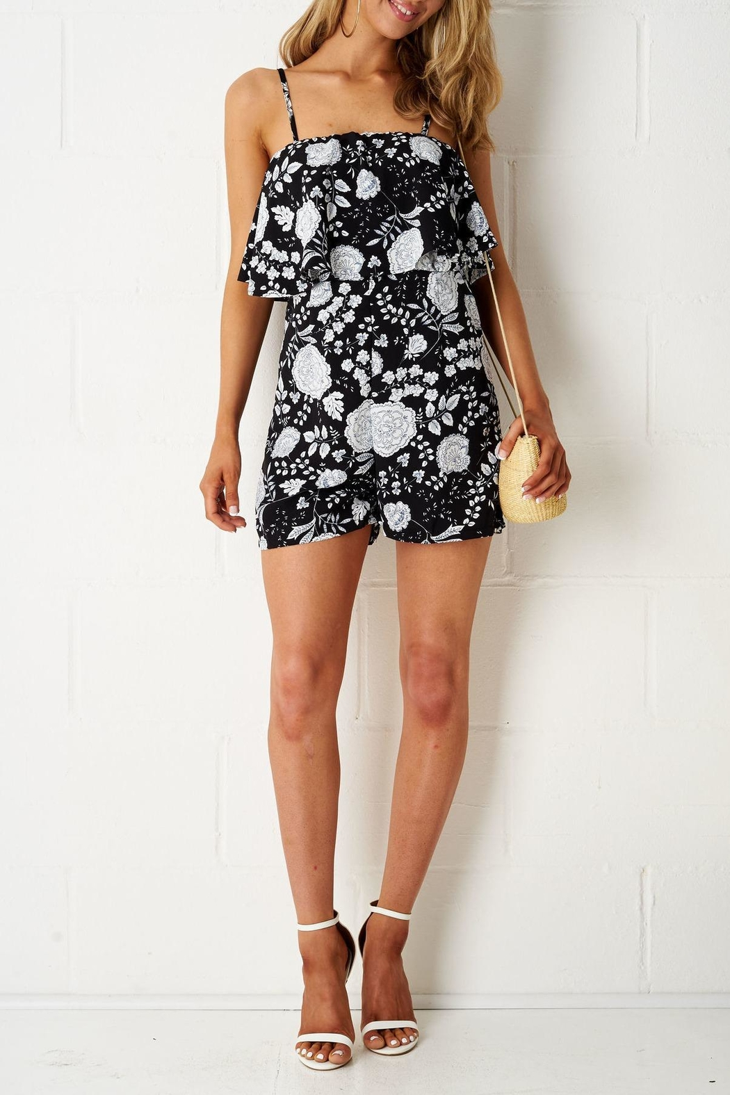frontrow Black Floral Playsuit - Side Cropped Image