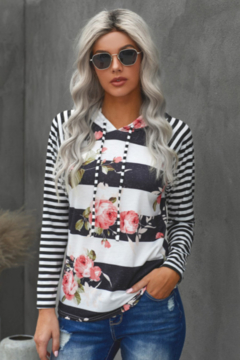 The Emerald Fox Boutique Black Floral Print Stripe Hooded Drawstring Long Sleeve Top - Product List Image
