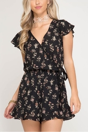 She + Sky Black Floral Romper - Product Mini Image
