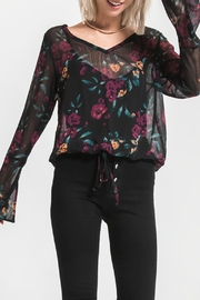 Others Follow  Black Floral Sheer Top with Cami - Product Mini Image