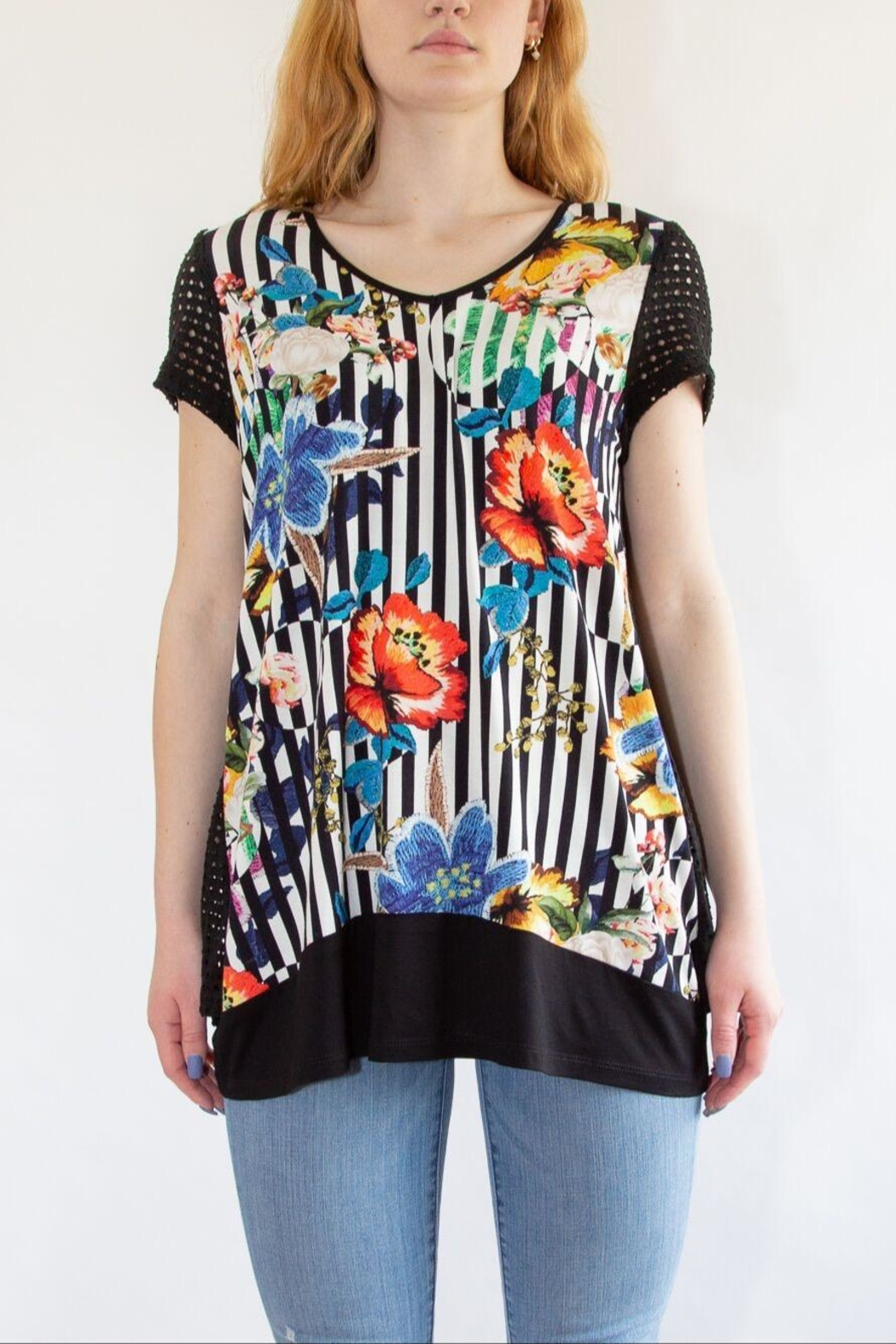 Zoey Black Floral T-Shirt - Front Full Image