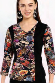 Parsley and Sage  Black floral top, v-neck, 3/4 sleeves. - Product Mini Image
