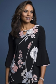 Frank Lyman Black floral tunic top - Product Mini Image